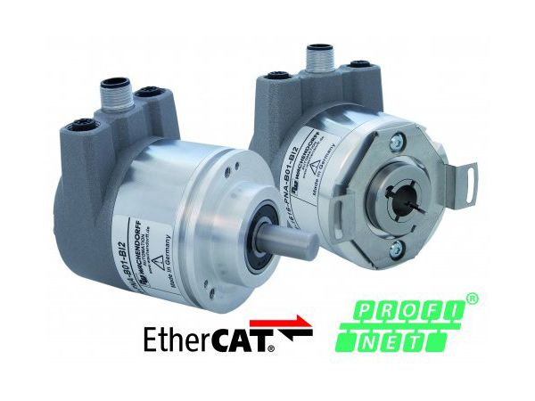 Wachendorffs seneste enkodere med enten PROFINET-IO- eller EtherCAT Industrial Ethernet-interface.