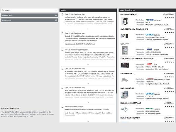 Dashboardet giver brugeren overblik – eksempelvis over nye funktioner i Eplan Data Portalen eller de mest downloadede produktdata.