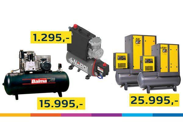 KJV-kampagnen omfatter tilbud på både små bærbare kompressorer såvel som de store industrimodeller.