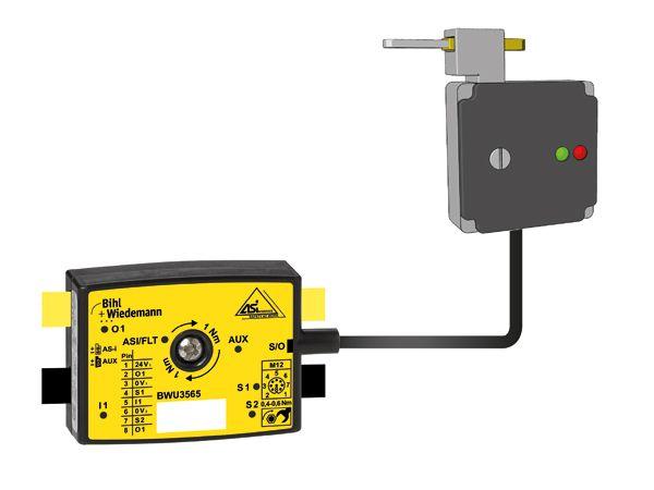Bihl+Wiedemanns AS-i-chip ses her til brug ved sikkerhedslåsen AZM400 fra Schmersal.