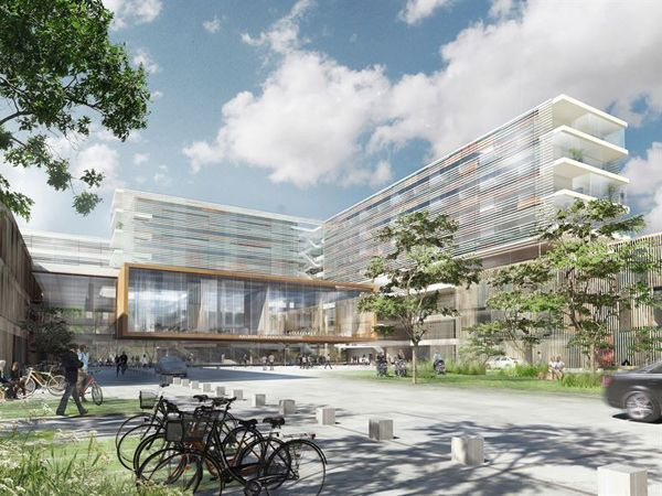 Den store VVS-ordre på Nyt Aalborg Universitetshospital er netop tilfaldet Bravida Danmark, meddeler selskabet. (Illustration: Konsortium Indigo)