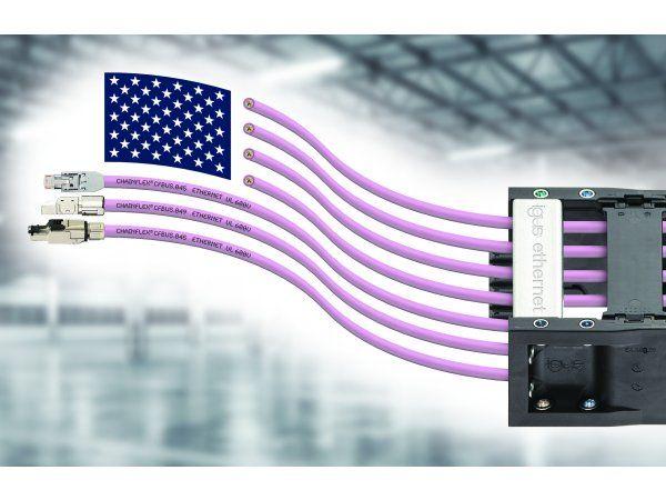 Med de fleksible Chainflex-kabler CFBUS.045 og CFBUS.049, har Igus udviklet langtidsholdbare Ethernet-kabler med 600 Volt UL-godkendelse. (Illustration: Igus GmbH)