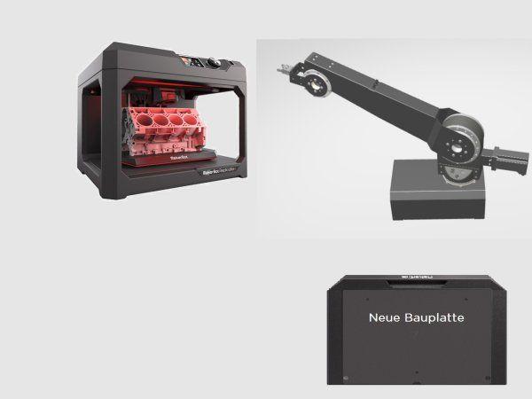Enkel udskiftning af byggeplade under 3D-printning ved brug af Robolink D-robotarm. (Kilde: Igus GmbH)