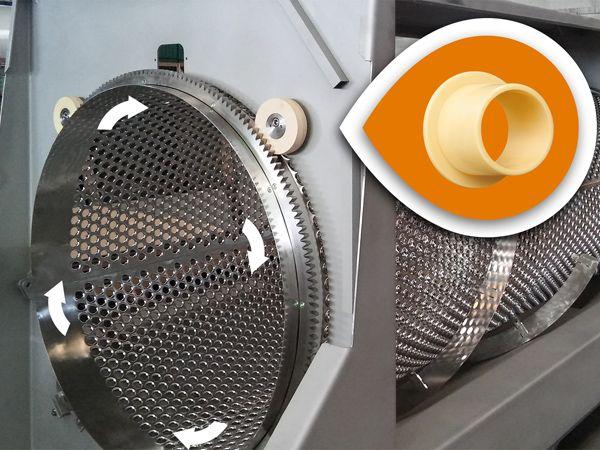 Druer og stilke separeres fra hinanden i afstilkningsmaskinen. Smøre- og vedligeholdsfri Iglidur J-glidelejer benyttes til at sikre en driftssikker funktion af maskinen. (Foto: Igus GmbH)