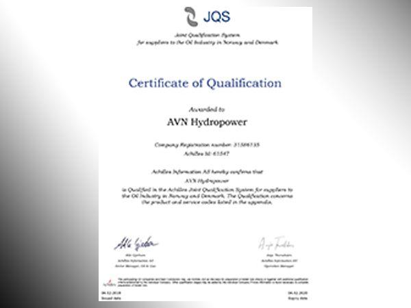 Achilles JQS-certikatet er nu placeret tæt ved AVN Hydropowers øvrige certifikater.