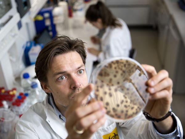 """AU-adjunkt Thomas Tørring har indledt jagten på antibiotika i naturens """"eget medicinskab"""". (Foto: Lars Kruse/AU)"""