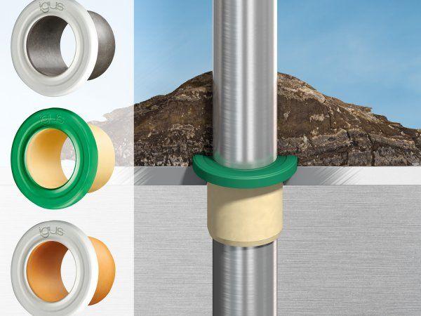 Ved at blive monteret på flangen beskyttes Iglidur-glidelejerne, og komponenterne bag dem, mod selv ekstrem snavsophobning. (Illustration: Igus GmbH)