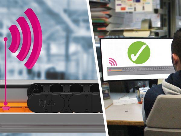 Til overvågning af glidelegemet fremstillet af slidstærkt højtydende polymer, benytter Igus nu den intelligente plastsensor EC.T. Den sender regelmæssig information om de langtidsholdbare skinners tekniske tilstand. (Illustration: Igus GmbH)