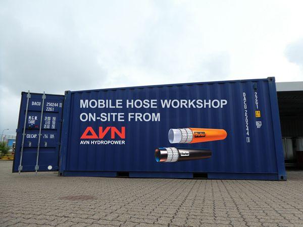 AVN Hydropower tilbyder sine kunder at sende et mobilt slangeværksted.