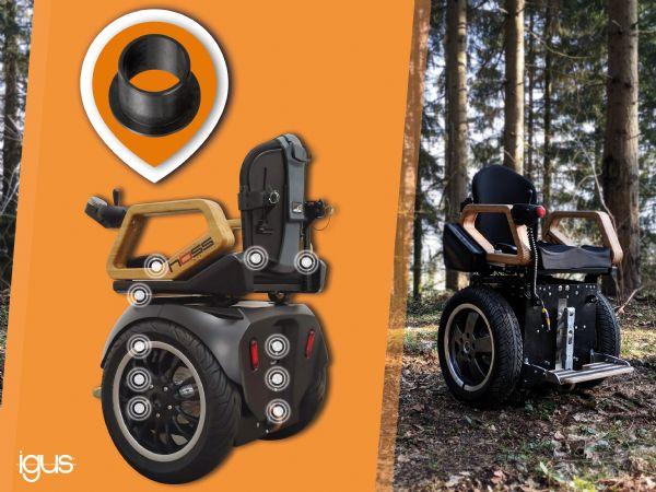 Hoss-kørestolen er adræt, selv i terræn. Smørefri glidelejer fra Igus er anvendt for sikker og hurtig nødstøtte og komfortabel pasform. (Illustration: Igus GmbH)
