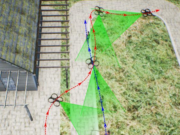 Her ses en simulering af dronens bevægelser. (Grafik: Erdal Kayacan)