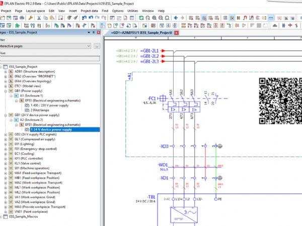 EPLAN Platform, udgave 2.9, kan QR koder genereres som eksempelvis link til en komponent i EPLAN Data Portal.