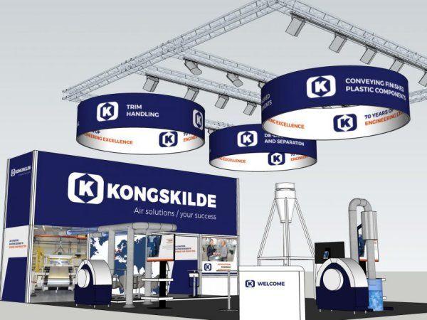 3D-illustration af Kongskilde Industries 123.5 kvadratmeter store messestand til K-messen 2019. Virksomheden kan findes i hal 10 på stand B40.