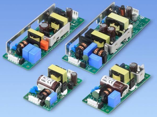 De fire aktuelt lancerede Cosel lavprofil Open Frame-strømforsyninger, LHA30F, LHA50F, LHA75F og LHA100F.