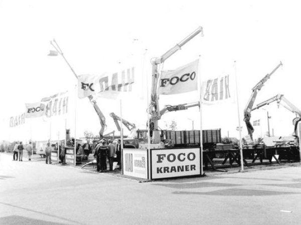 For 50 år siden deltog det nuværende SAWO på hi-messen under navnet Aalborg Hydraulic og udstillede blandt andet kraner fra HIAB og FOCO. (Foto: SAWO)