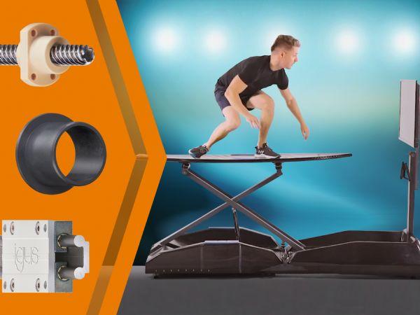 I træningsudstyret fra Surf Evolution, sikrer de smørefri Motion Plastics en omkostningsbesparelse på 70 procent. (Illustration: Igus GmbH)