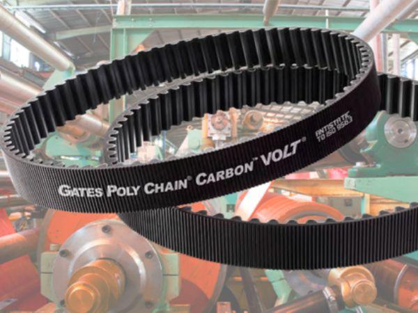 Gates´  Poly Chain Carbon Volt-tandrem er udviklet til store kraftoverførsler, fremhæver Brd. Klee.