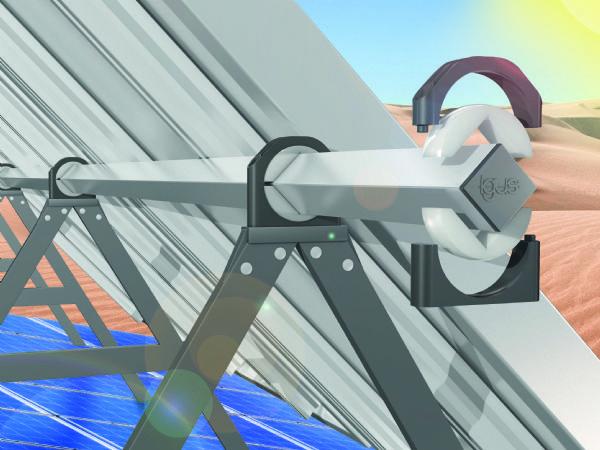 De vedligeholdsfri og slidstærke Igubal-lejeblokke justerer solarmoduler driftssikkert i en smørefri applikation, selv i ørkenklima, fremhæver Igus.