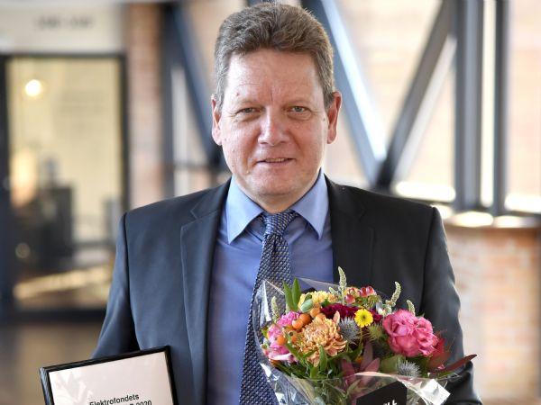 Elektroprisen HCØ2020 blev erhvervsforsker Keld Folsach Rasmussen, Grundfos, der ud over æren også fik erindringsgave samt 30.000 kroner.  Foto: Henrik Frydkjær)