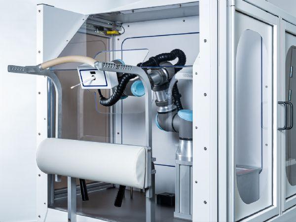 Lifeline Robitics Covid-19-podningsrobot, der aktuelt er under afsluttende tests for endelig godkendelse var i fokus ved WHINN i Odense.