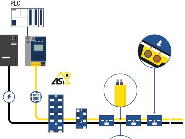 Med ASi behøves der ingen stik til 24 Volt-strømforsyningen og feltbus-tilslutningerne.