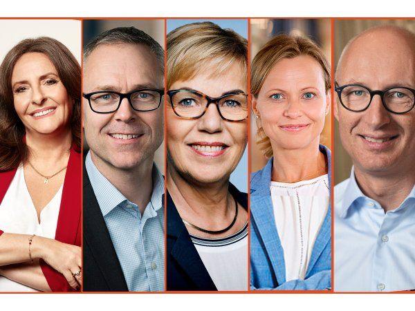 Nominerede til Årets Leder 2020 er disse fem Anja Monrad, der er Dells central- og østeuropadirektør, Group CEO Michael Løve, Netto, CEO Connie Astrup-Larsen, Kompan, CEO Britta Korre Stenholt, Stark Denmark, og CEO Lars Fruergaard Jørgensen, Novo Nordisk.