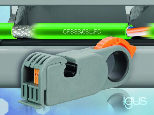 Med Igus Chainflex Profinet-kabel og tilhørende FastConnect-teknologi, kan kablet strippes nemt og hurtigt, fremhæver producenten.