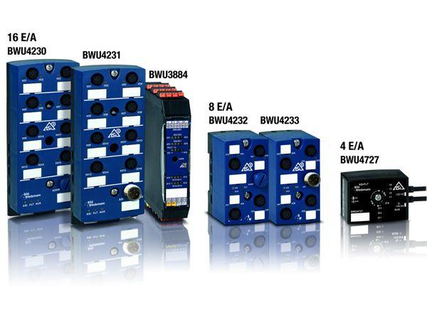 Bihl+Wiedemanns seneste selvkonfigurerende I-/O-moduler tilbydes på nuværende tidspunkt som moduler med 4, 8 og 16 bi-direktionelle digitale signaler.