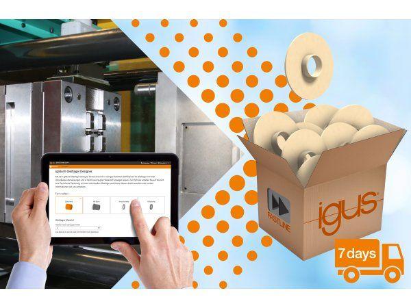 Med Fast Line-service samt Iglidur Designer, kan der leveres i batches fra Igus' sprøjtestøbningsafdeling inden for syv dage. (Illustration: Igus GmbH)