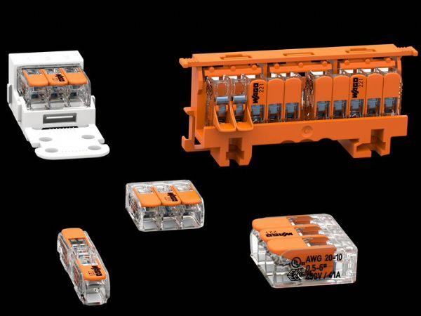 Wagos 221-serie af tilslutningsterminaler fås som 2-, 3- og 5-ledningsterminaler. Alle varianter er udstyret med et aktuatorhåndtag til værktøjsfri tilslutning og frigivelse af kabler. (Foto: Wago)